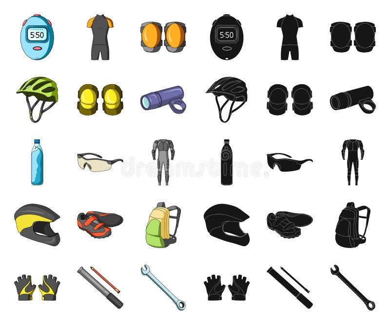 自行车成套装备动画片,在集合收藏的黑象的设计 自行车和工具导航标志储蓄网例证 向量例证
