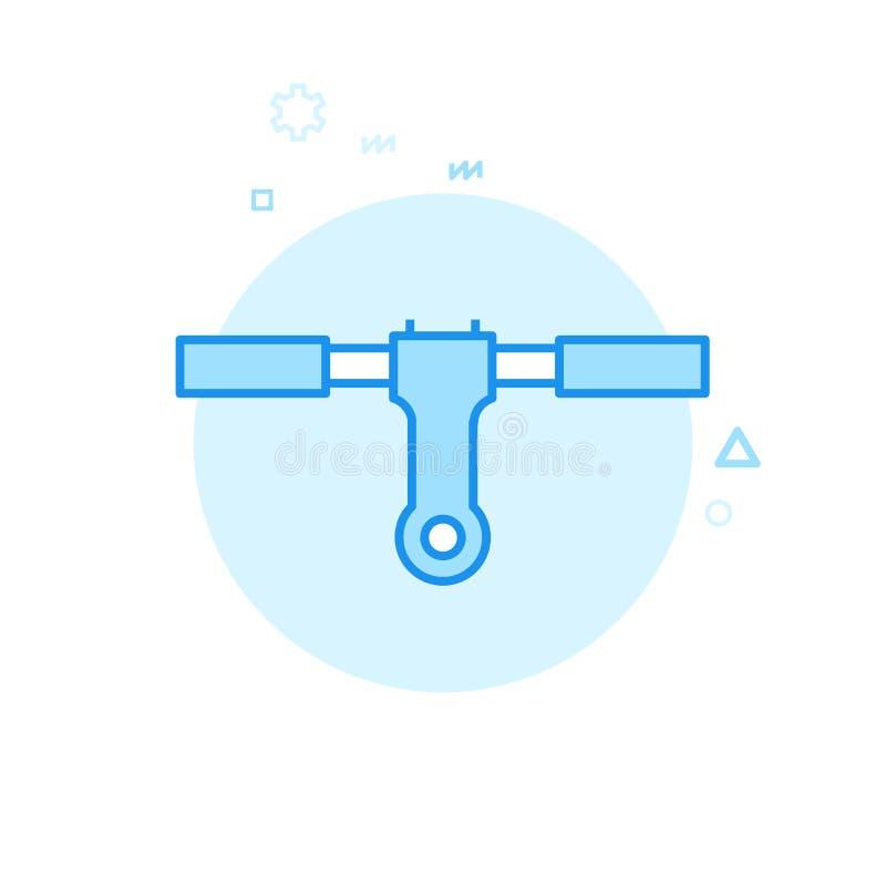 自行车或自行车把手平的传染媒介象,标志,图表,标志 蓝色单色设计 编辑可能的冲程 库存例证
