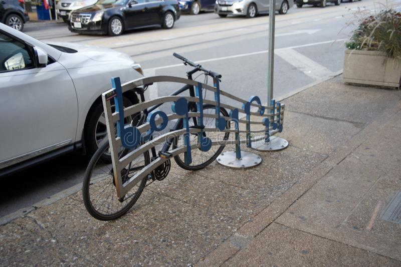 自行车机架街市圣路易斯密苏里 图库摄影