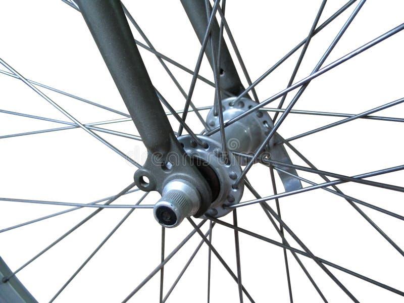 自行车查出的轮幅 免版税库存图片