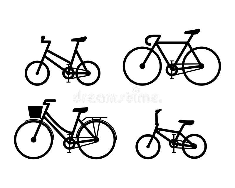 自行车标志象单色传染媒介例证集合 向量例证