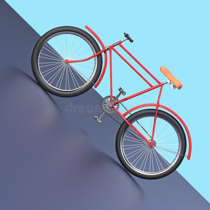自行车概念海报设计,减速火箭的自行车在与地方的颜色backgound回报,文本的 体育行家甚而乘驾夏天 库存例证