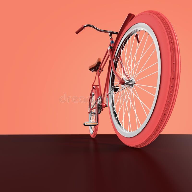 自行车概念海报设计,减速火箭的自行车在与地方的颜色backgound回报,文本的 体育行家甚而乘驾夏天 向量例证