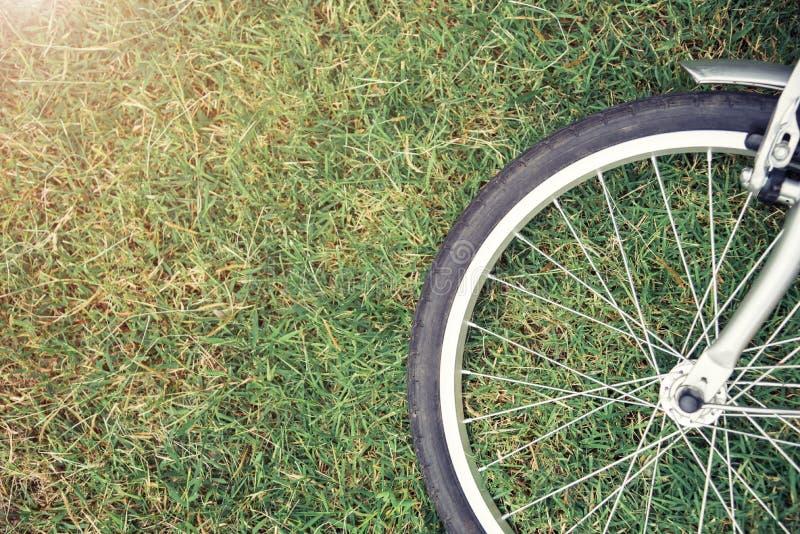 自行车概念背景 关闭在绿草w的自行车轮子 免版税库存照片