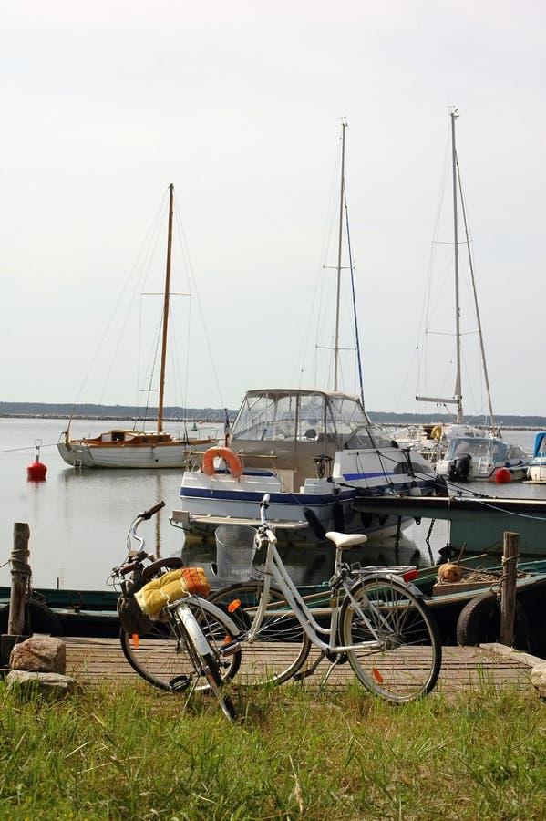 自行车港口游艇 库存照片