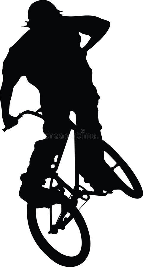 自行车男孩剪影 免版税库存图片