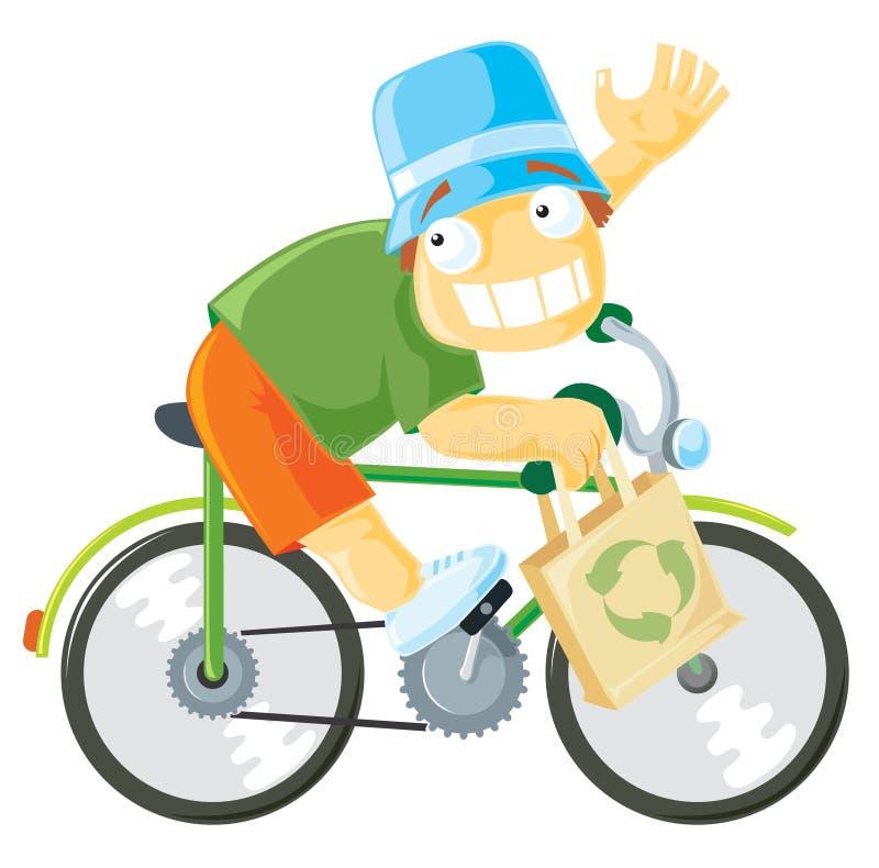 自行车男孩骑马 库存例证