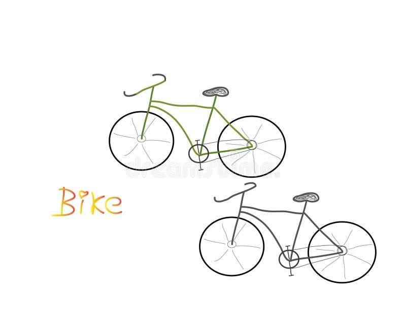 自行车白色背景传染媒介黑色绿色 库存图片