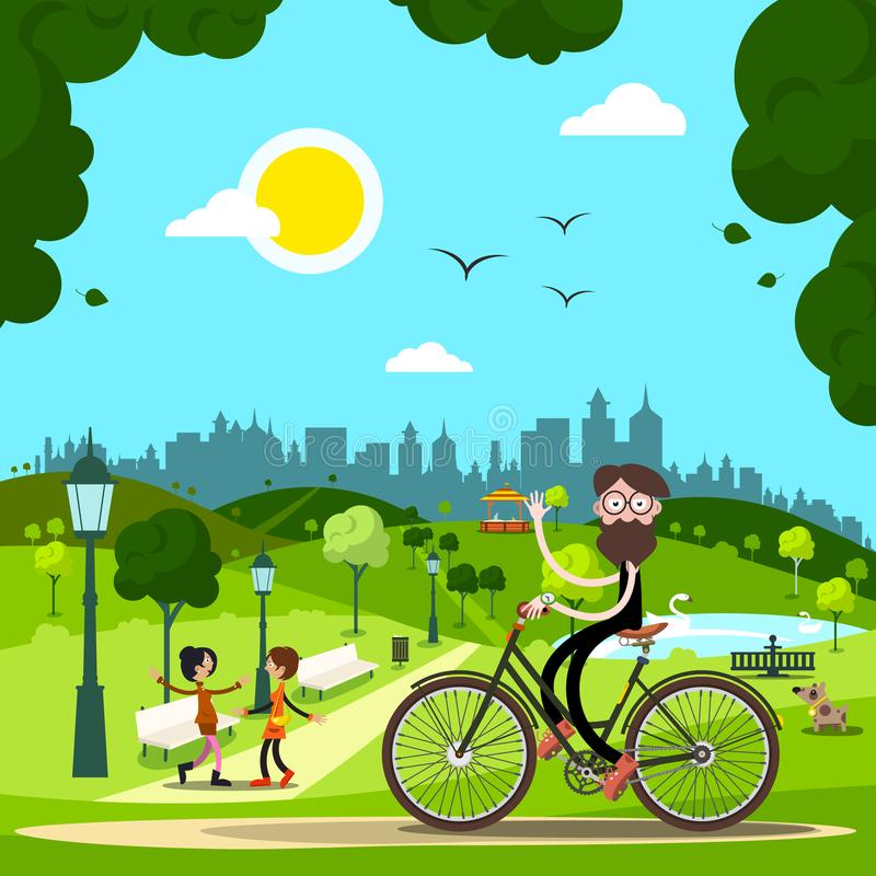 自行车的人在有人和狗的城市公园 库存例证