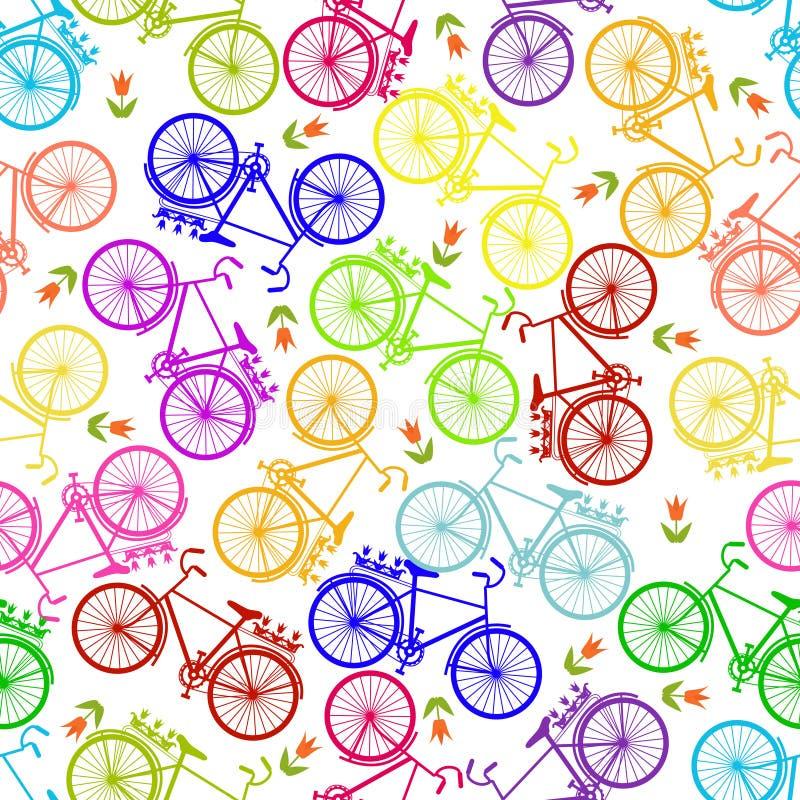 自行车的例证,乘坐在自行车,传染媒介例证 无缝的模式 库存例证