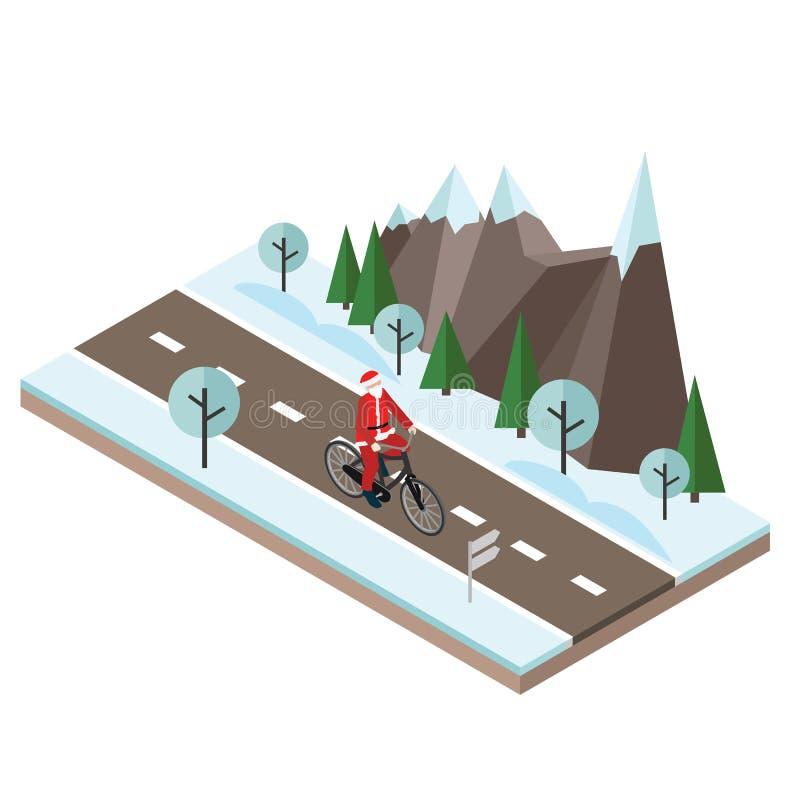 自行车的圣诞老人 等量乡下 在铁路路附近的城市发光雪星期日对冬天木头 循环在乡下冬天路或高速公路的圣诞老人 皇族释放例证
