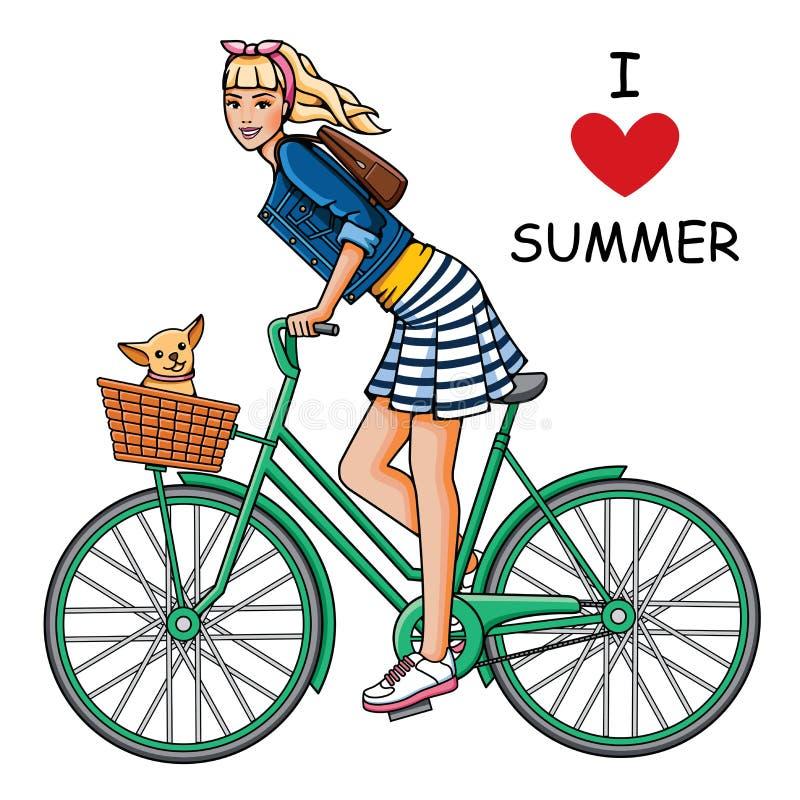 自行车的女孩 库存例证