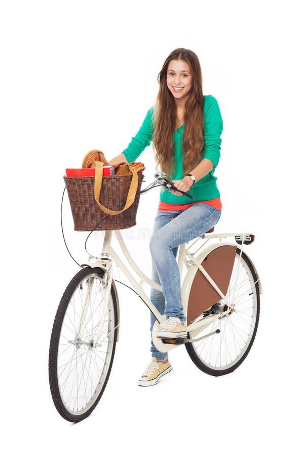 自行车的妇女 库存照片