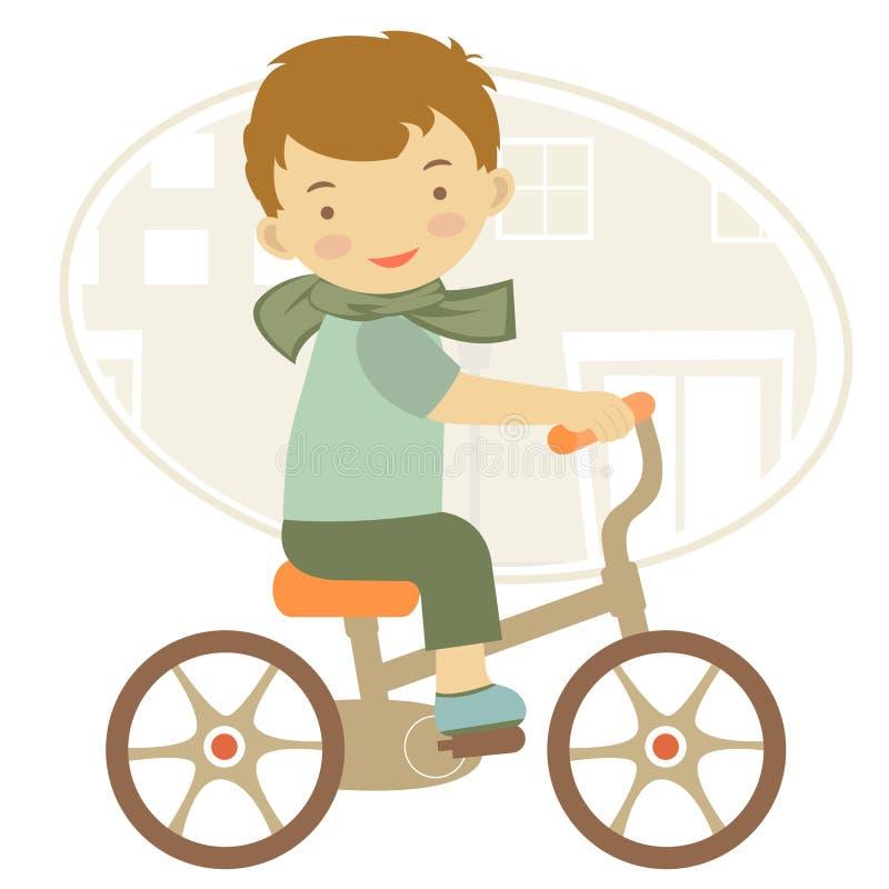 自行车的小男孩 皇族释放例证