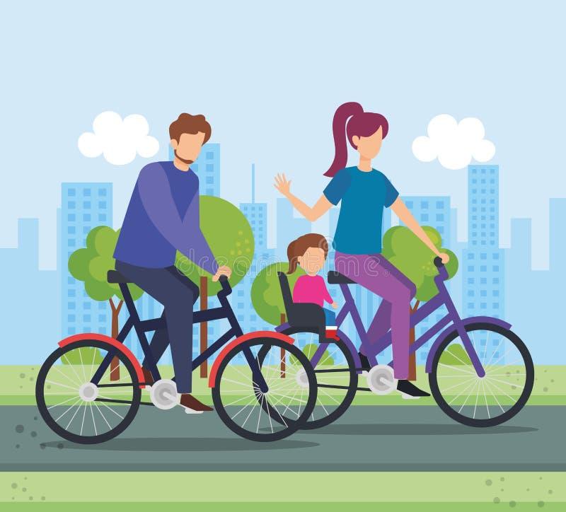 自行车的父母有公园的女儿的 皇族释放例证