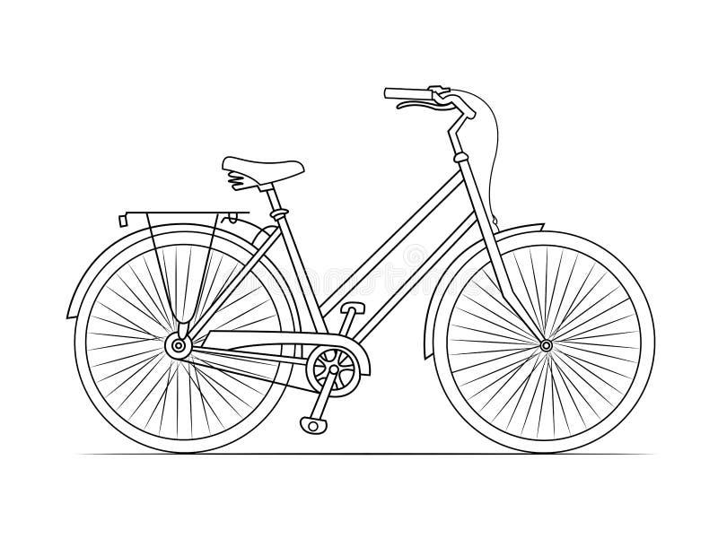 自行车线剪影 库存例证