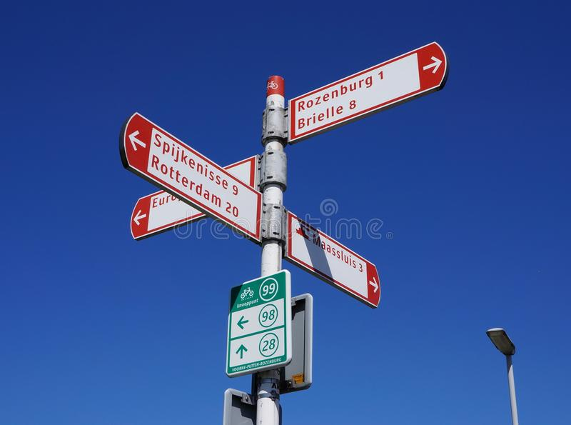 自行车网络路标荷兰 免版税库存照片