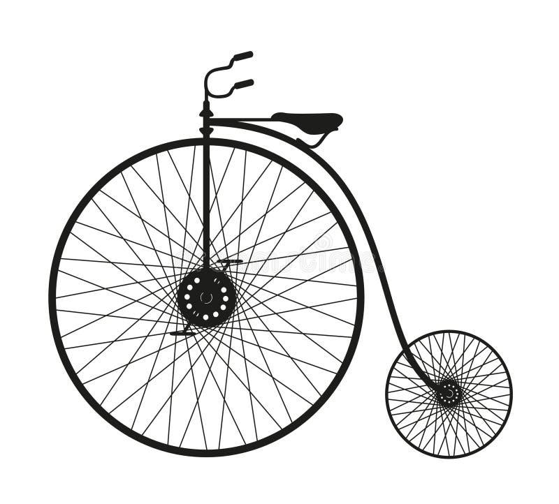 自行车老剪影 向量例证