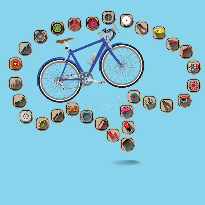 自行车脑子 向量例证