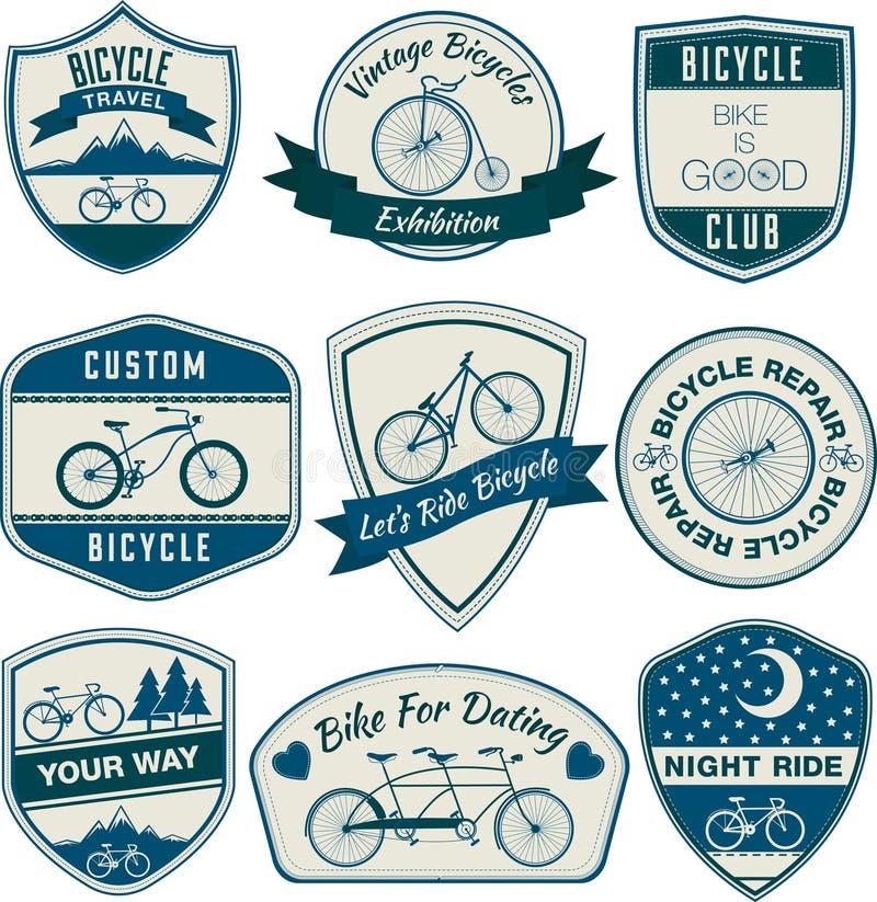自行车葡萄酒徽章 向量例证