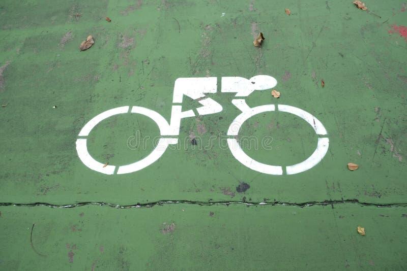自行车跑道标志小心自行车的道路 免版税库存照片