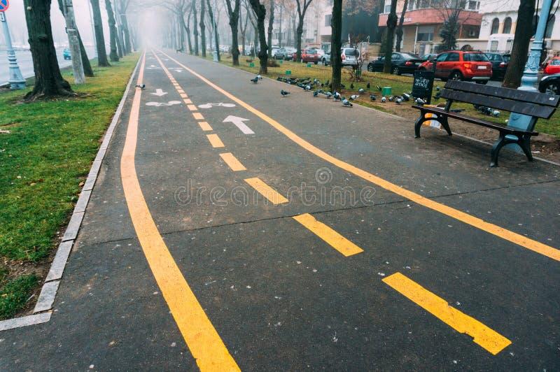 自行车车道和边路有公园长椅的 库存照片