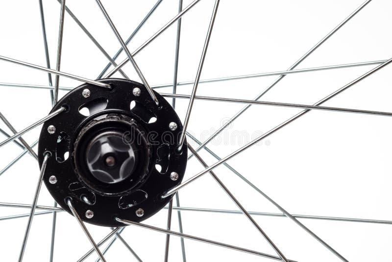 自行车轮幅和插孔 免版税库存照片