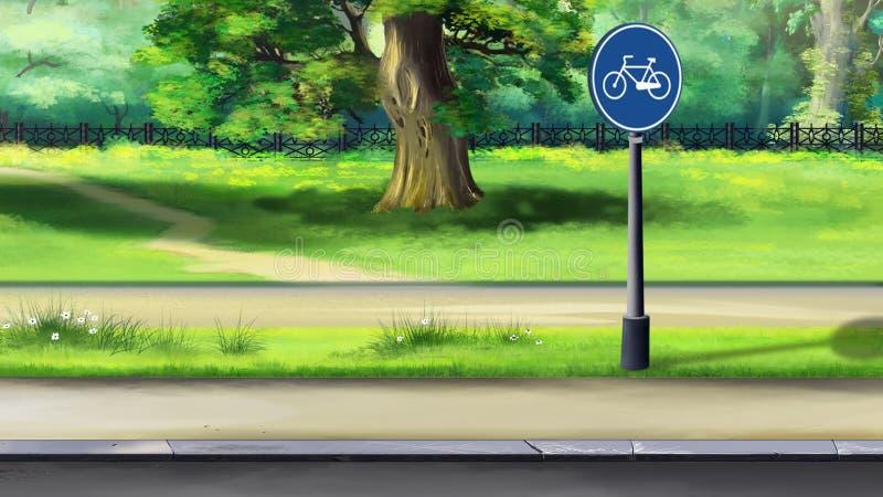 自行车道路在公园 皇族释放例证