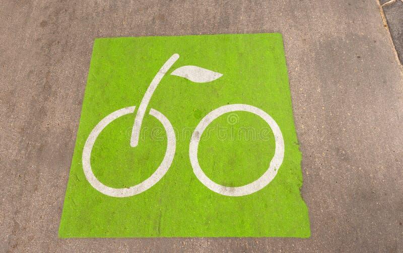 自行车道路在巴塞罗那西班牙 免版税库存图片