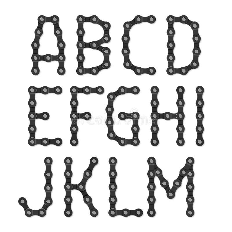 自行车链字母表 皇族释放例证