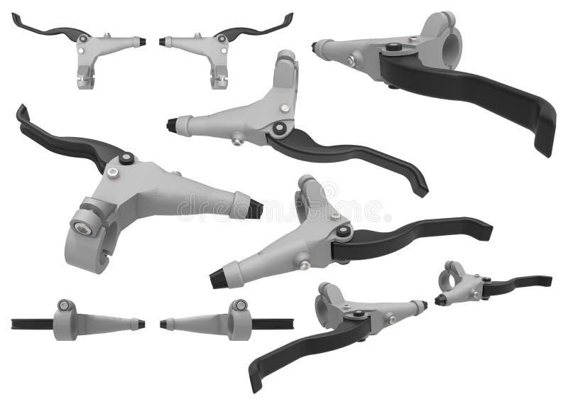 自行车闸 手闸杠杆 控制的刹车细节自行车 被隔绝的套在白色的图象 库存例证