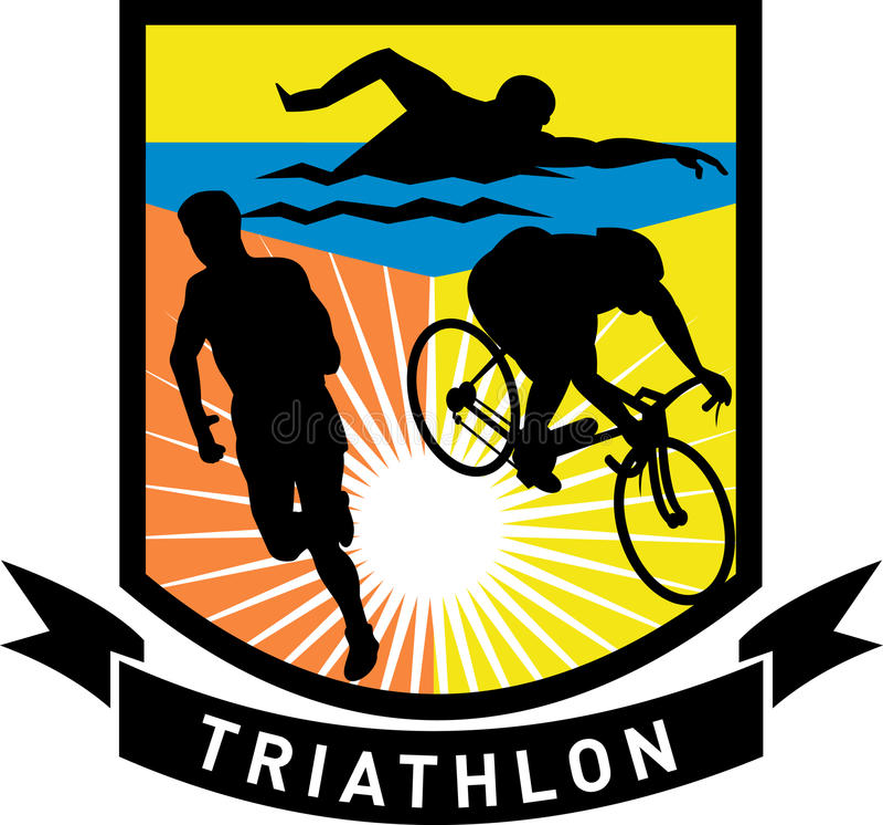 自行车马拉松运行游泳三项全能 库存例证