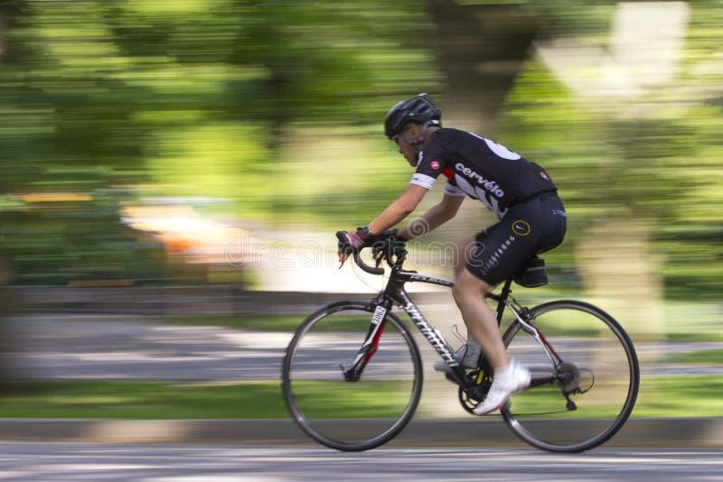 自行车骑士在中央公园 免版税库存照片