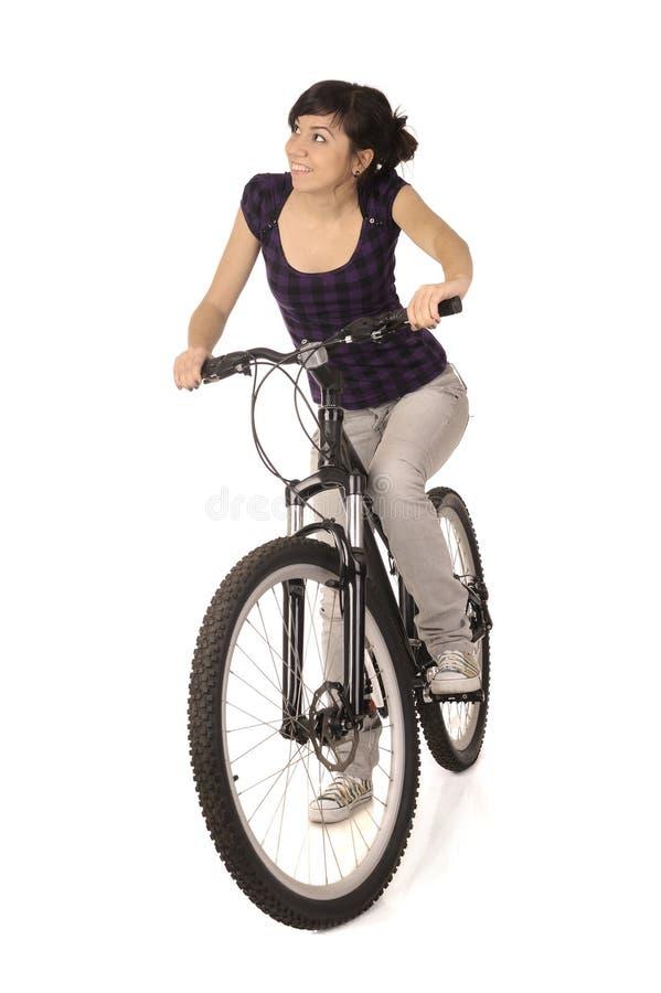 自行车骑士妇女 免版税库存图片