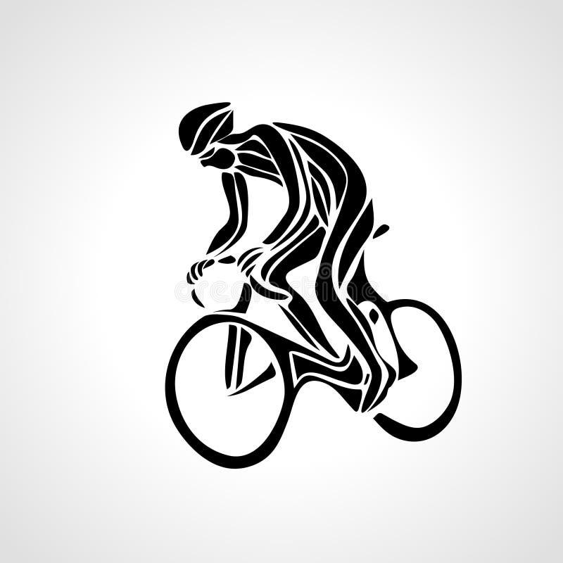 自行车骑士黑色自行车骑自行车者商标抽象剪影  向量例证