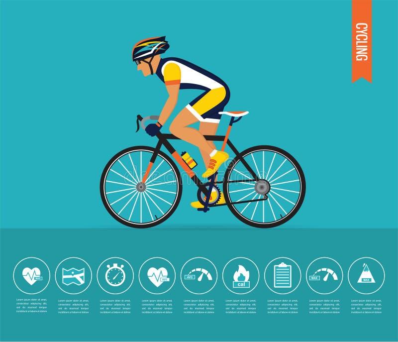 自行车骑自行车者例证炫耀向量 infographic自行车的传染媒介 皇族释放例证