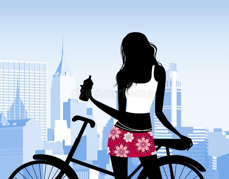 自行车骑马 库存例证