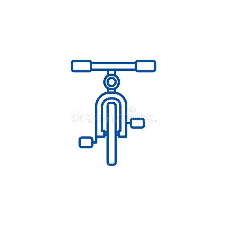 自行车,正面图线象概念 自行车,正面图平的传染媒介标志,标志,概述例证 向量例证
