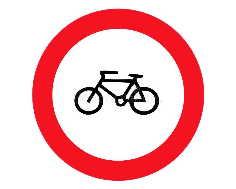 自行车,自行车没有禁止平的象 交通和路标,向量图形 在白色背景的坚实样式 向量例证