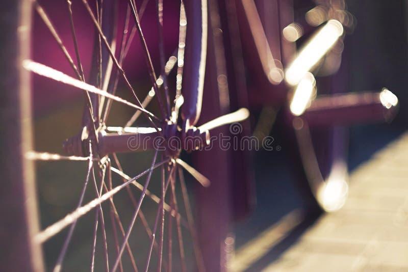 自行车,轮幅在日落的光芒发光 库存图片