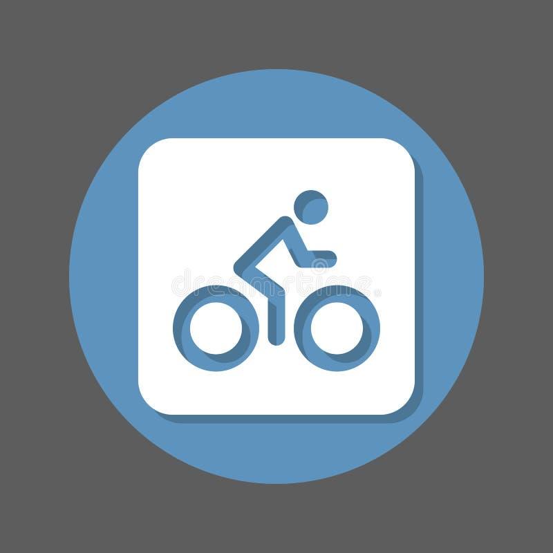 自行车 自行车,循环的平的象 圆的五颜六色的按钮,与屏蔽效应的圆传染媒介标志 平的样式设计 皇族释放例证