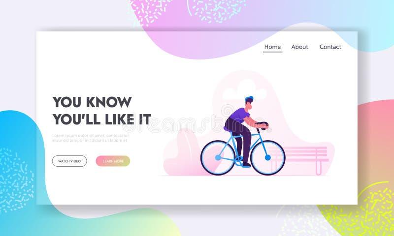 自行车Eco运输网站着陆页 人骑自行车者骑马自行车户外在城市公园 活跃体育生活和健康生活方式 库存例证