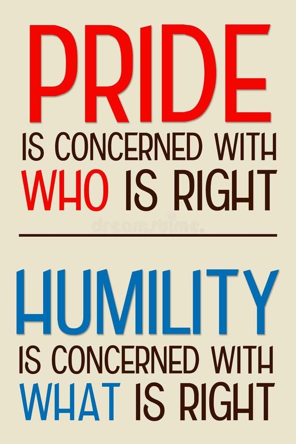 自豪感谦卑 向量例证