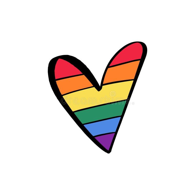 自豪感LGBT旗子心脏象,女同性恋的快乐两性的变性概念,爱标志 颜色彩虹,乱画平的设计, 向量例证