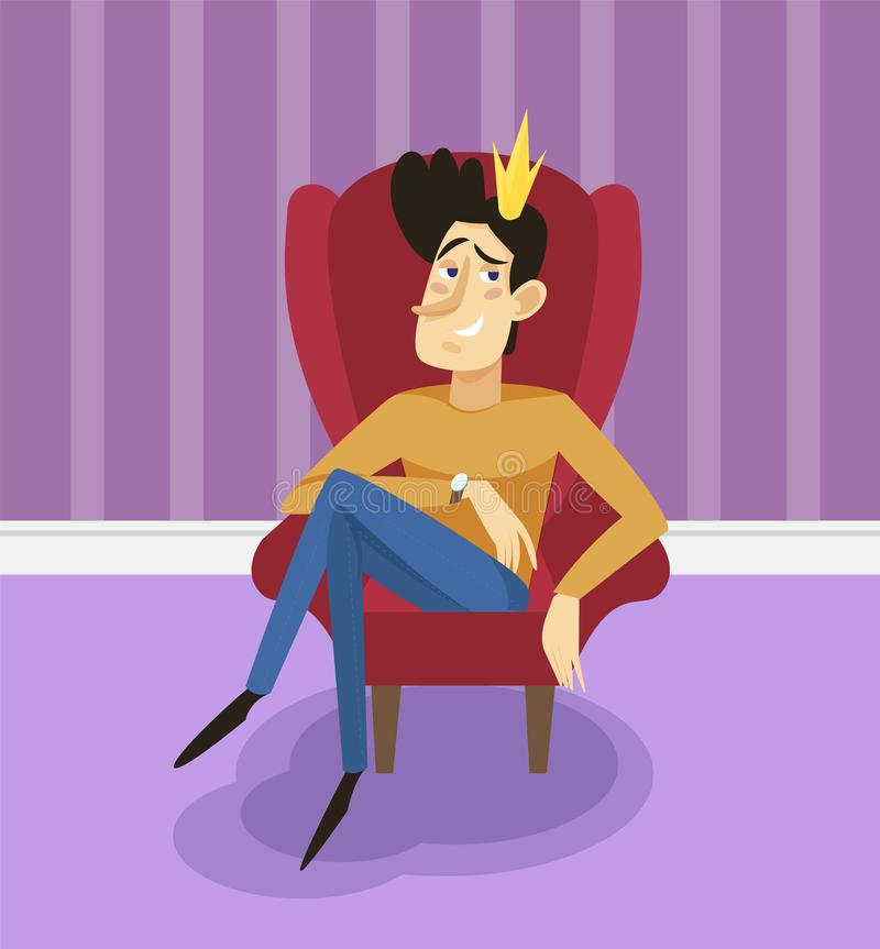 自负现代王子坐王位,摆在客厅背景的滑稽的年轻人喜剧人物  库存例证