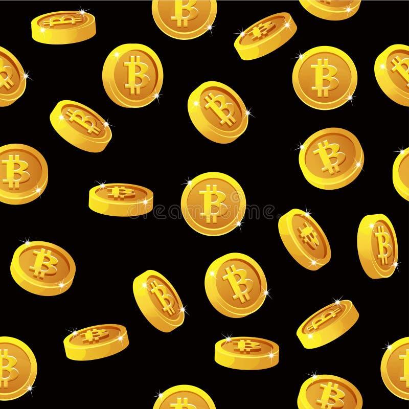 自转Bitcoin铸造无缝的样式 数字式互联网货币,传染媒介背景 向量例证