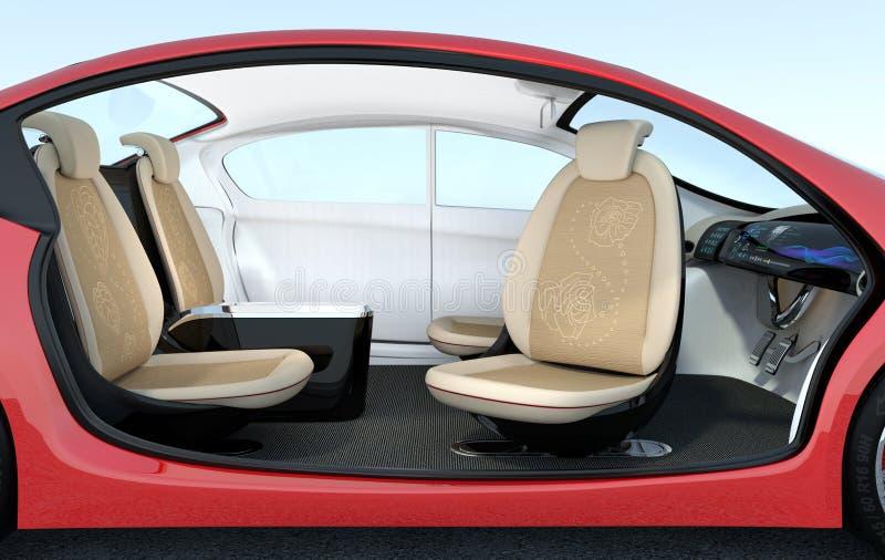 自驾驶汽车内部概念 向量例证