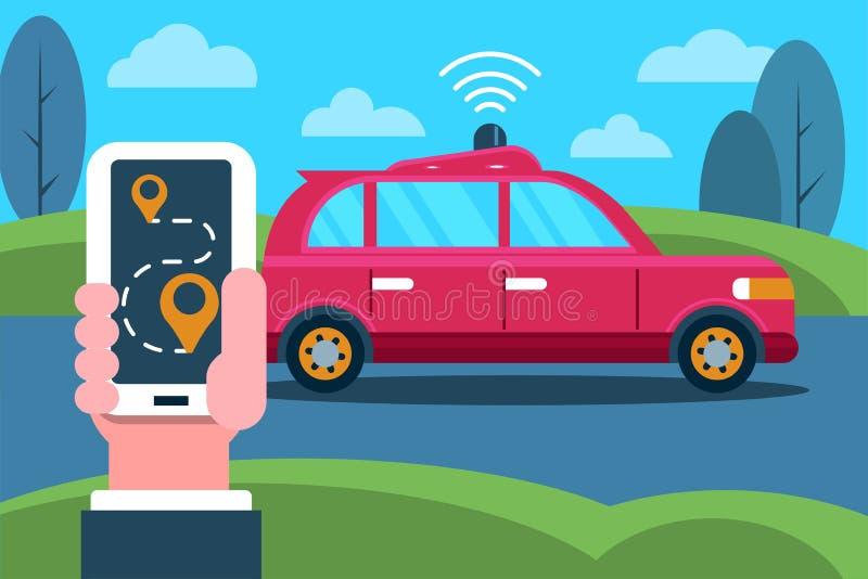 自驾驶汽车和手有电话的 向量例证