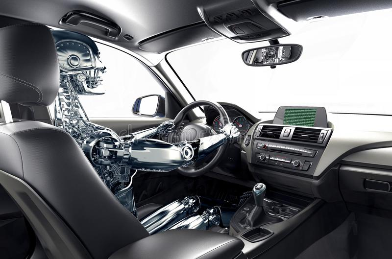 自驾驶的汽车的概念 向量例证