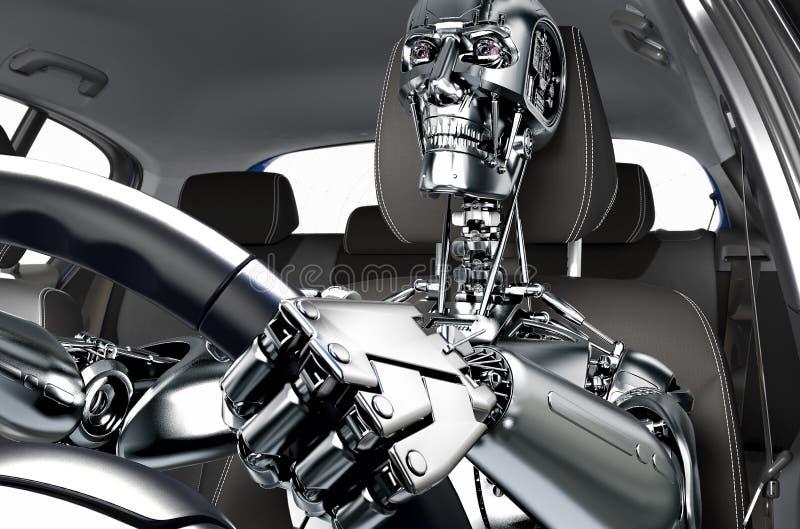 自驾驶的汽车的概念 库存例证